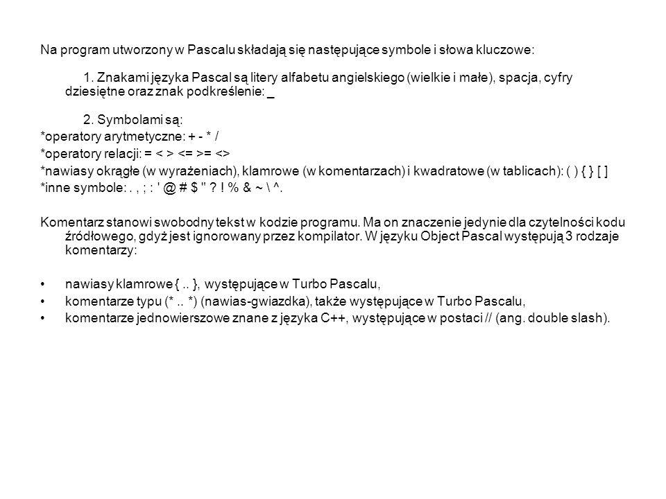 Na program utworzony w Pascalu składają się następujące symbole i słowa kluczowe: 1. Znakami języka Pascal są litery alfabetu angielskiego (wielkie i małe), spacja, cyfry dziesiętne oraz znak podkreślenie: _ 2. Symbolami są:
