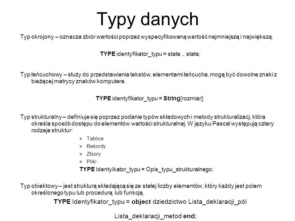 Typy danych Typ okrojony – oznacza zbiór wartości poprzez wyspecyfikowaną wartość najmniejszą i największą.