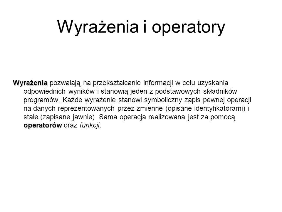 Wyrażenia i operatory