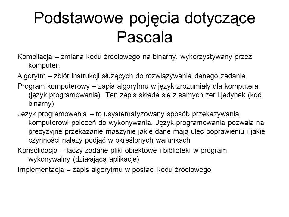 Podstawowe pojęcia dotyczące Pascala
