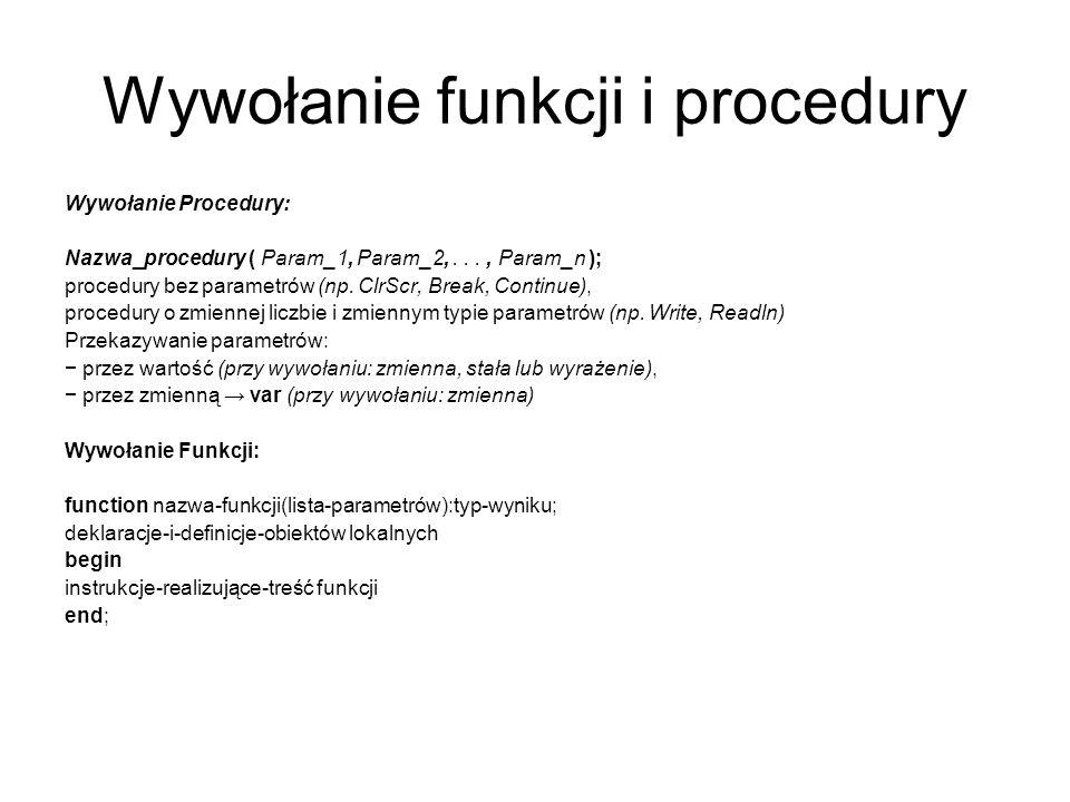Wywołanie funkcji i procedury