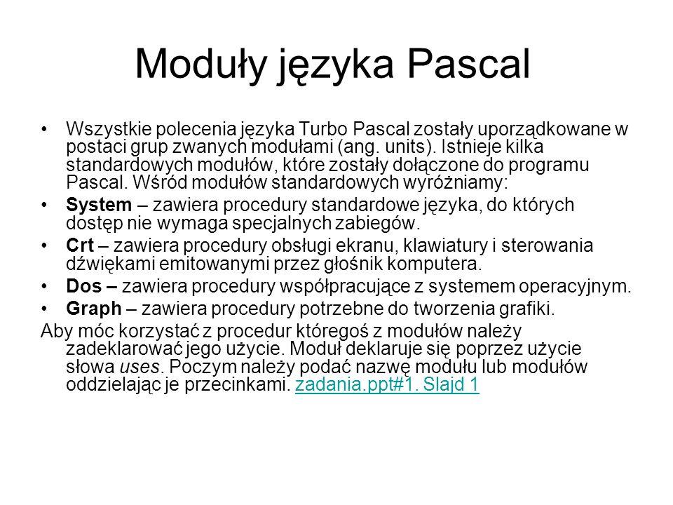 Moduły języka Pascal