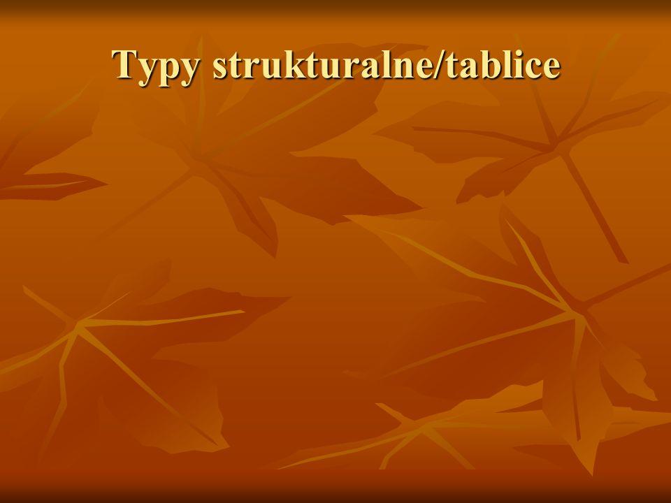Typy strukturalne/tablice