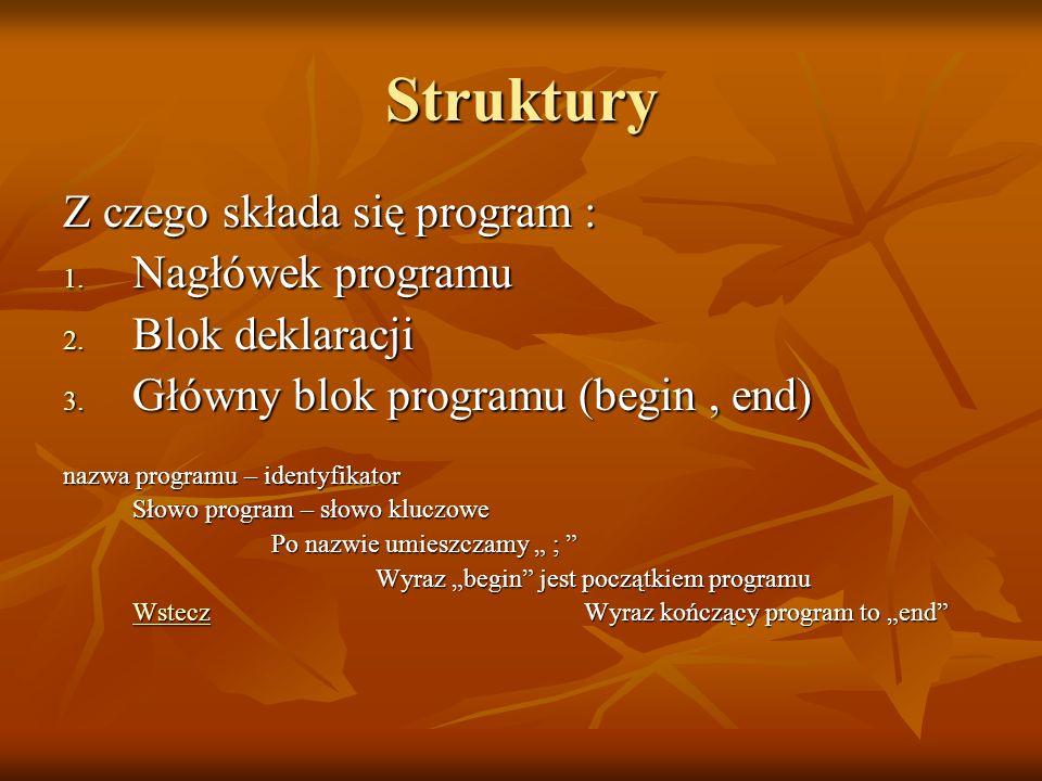 Struktury Z czego składa się program : Nagłówek programu