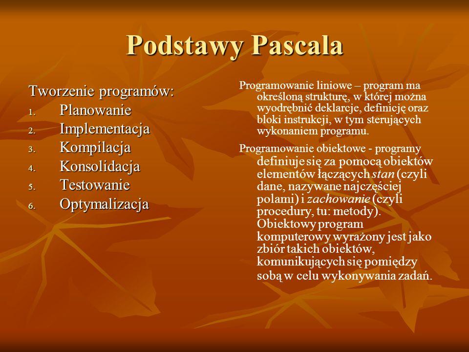 Podstawy Pascala Tworzenie programów: Planowanie Implementacja
