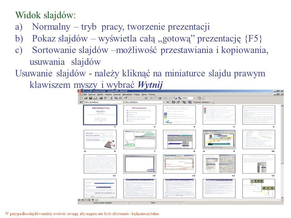 Normalny – tryb pracy, tworzenie prezentacji