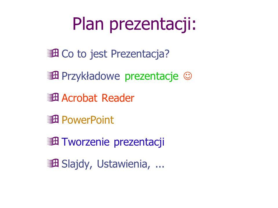 Plan prezentacji: Co to jest Prezentacja Przykładowe prezentacje 