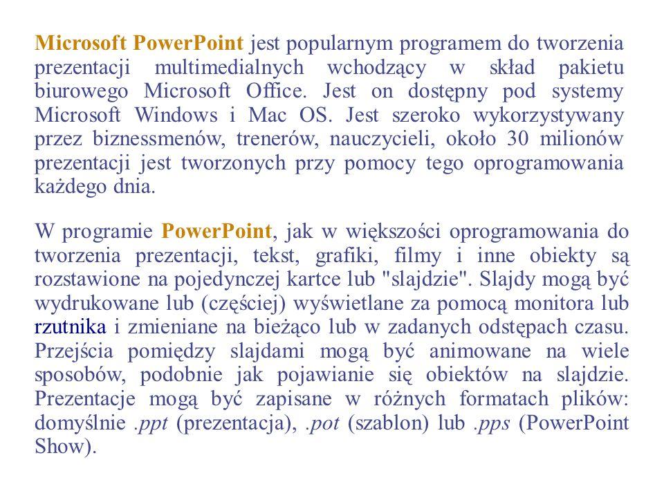 Microsoft PowerPoint jest popularnym programem do tworzenia prezentacji multimedialnych wchodzący w skład pakietu biurowego Microsoft Office. Jest on dostępny pod systemy Microsoft Windows i Mac OS. Jest szeroko wykorzystywany przez biznessmenów, trenerów, nauczycieli, około 30 milionów prezentacji jest tworzonych przy pomocy tego oprogramowania każdego dnia.