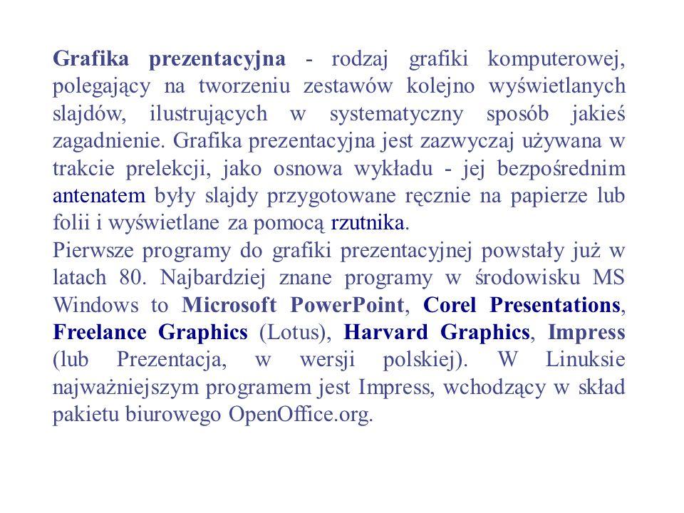 Grafika prezentacyjna - rodzaj grafiki komputerowej, polegający na tworzeniu zestawów kolejno wyświetlanych slajdów, ilustrujących w systematyczny sposób jakieś zagadnienie. Grafika prezentacyjna jest zazwyczaj używana w trakcie prelekcji, jako osnowa wykładu - jej bezpośrednim antenatem były slajdy przygotowane ręcznie na papierze lub folii i wyświetlane za pomocą rzutnika.