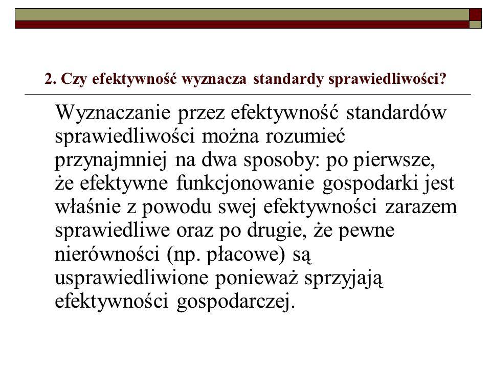 2. Czy efektywność wyznacza standardy sprawiedliwości