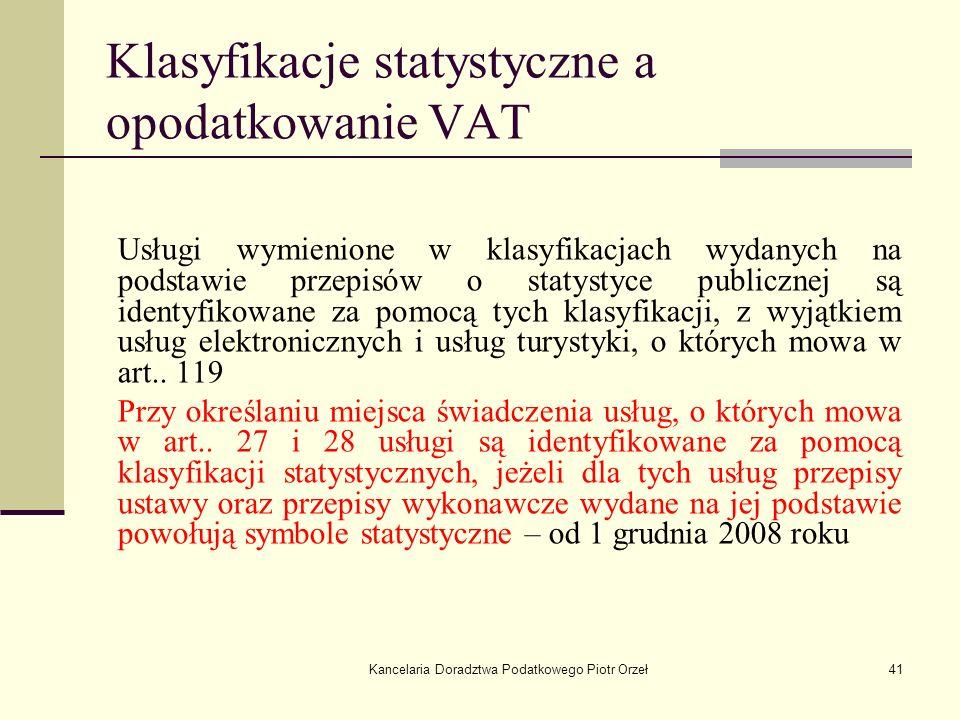 Klasyfikacje statystyczne a opodatkowanie VAT
