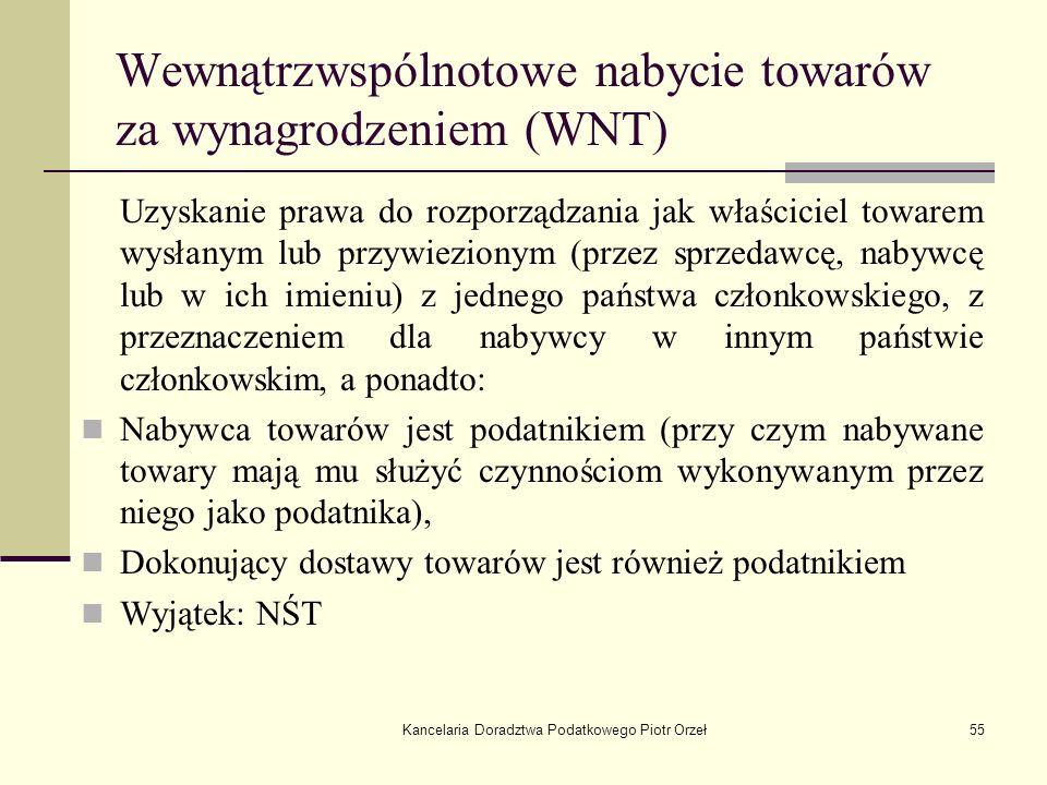 Wewnątrzwspólnotowe nabycie towarów za wynagrodzeniem (WNT)