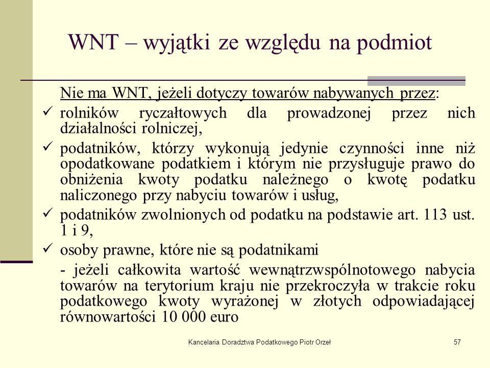WNT – wyjątki ze względu na podmiot