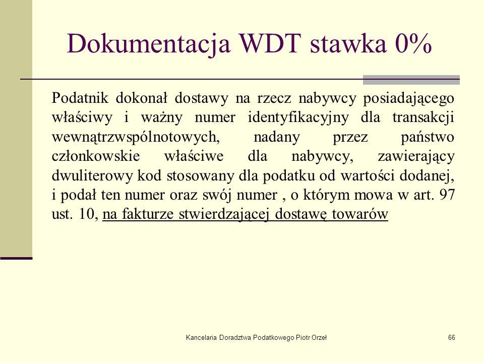Dokumentacja WDT stawka 0%