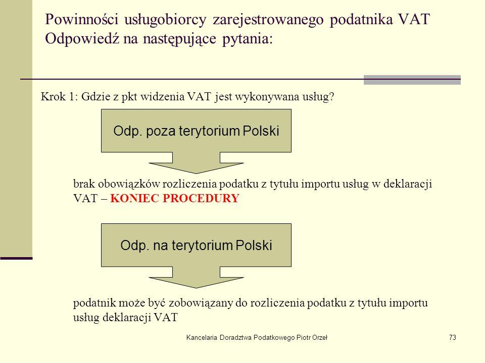 Powinności usługobiorcy zarejestrowanego podatnika VAT Odpowiedź na następujące pytania:
