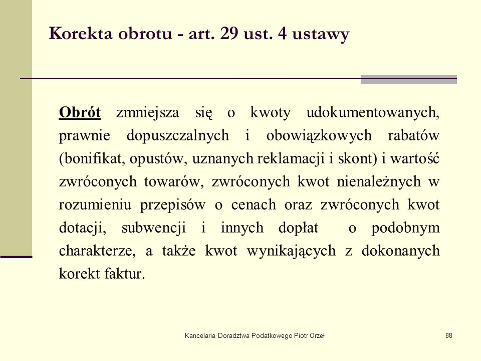 Korekta obrotu - art. 29 ust. 4 ustawy