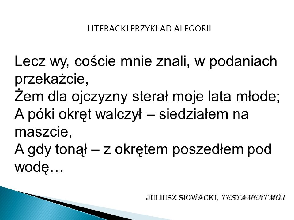 LITERACKI PRZYKŁAD ALEGORII