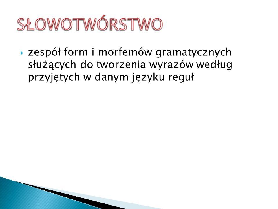 SŁOWOTWÓRSTWO zespół form i morfemów gramatycznych służących do tworzenia wyrazów według przyjętych w danym języku reguł.
