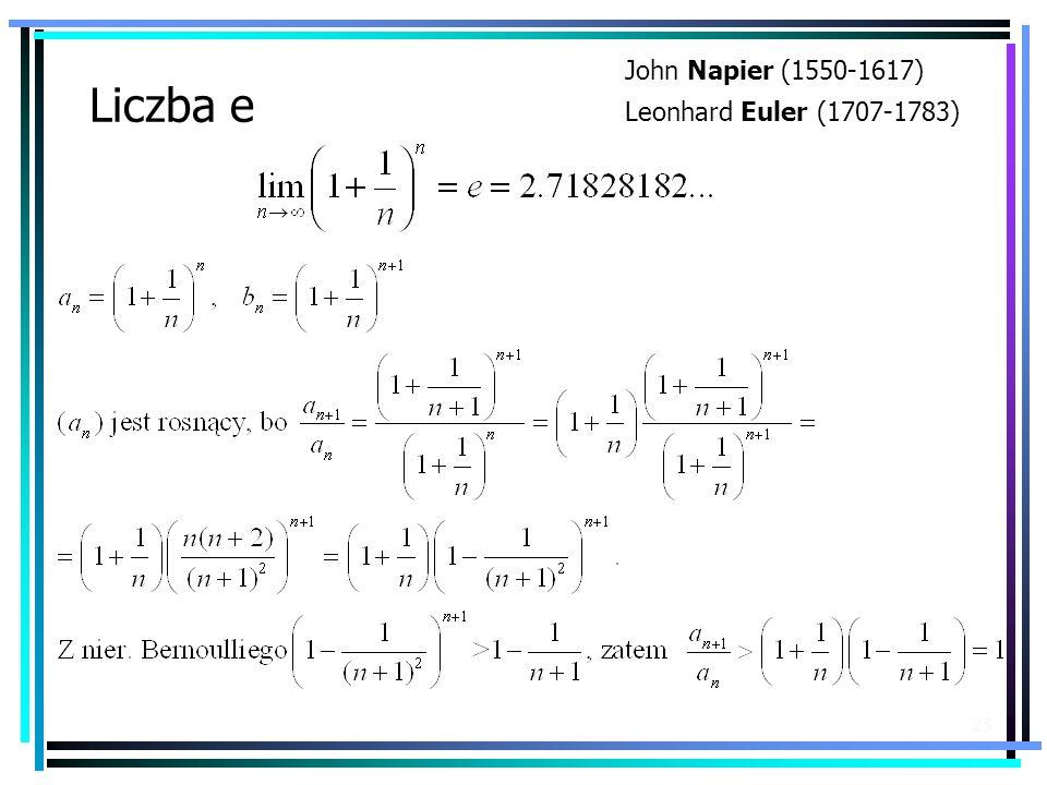 John Napier (1550-1617) Leonhard Euler (1707-1783) Liczba e