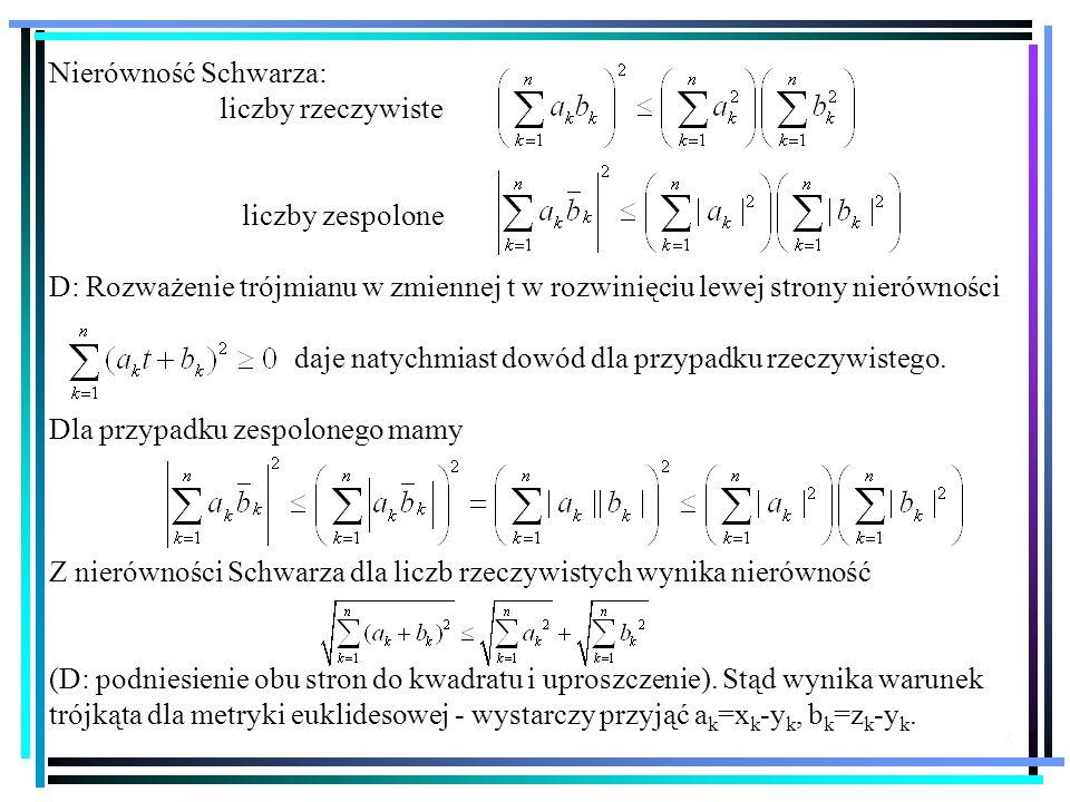 Nierówność Schwarza: liczby rzeczywiste. liczby zespolone. D: Rozważenie trójmianu w zmiennej t w rozwinięciu lewej strony nierówności.