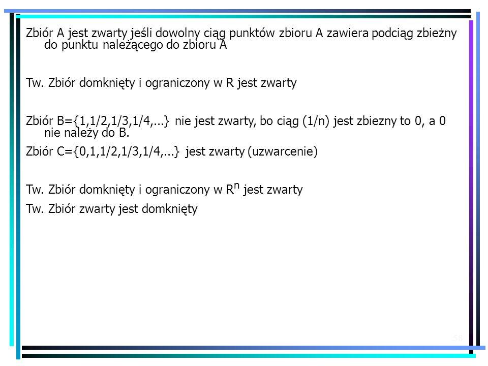 Zbiór A jest zwarty jeśli dowolny ciąg punktów zbioru A zawiera podciąg zbieżny do punktu należącego do zbioru A