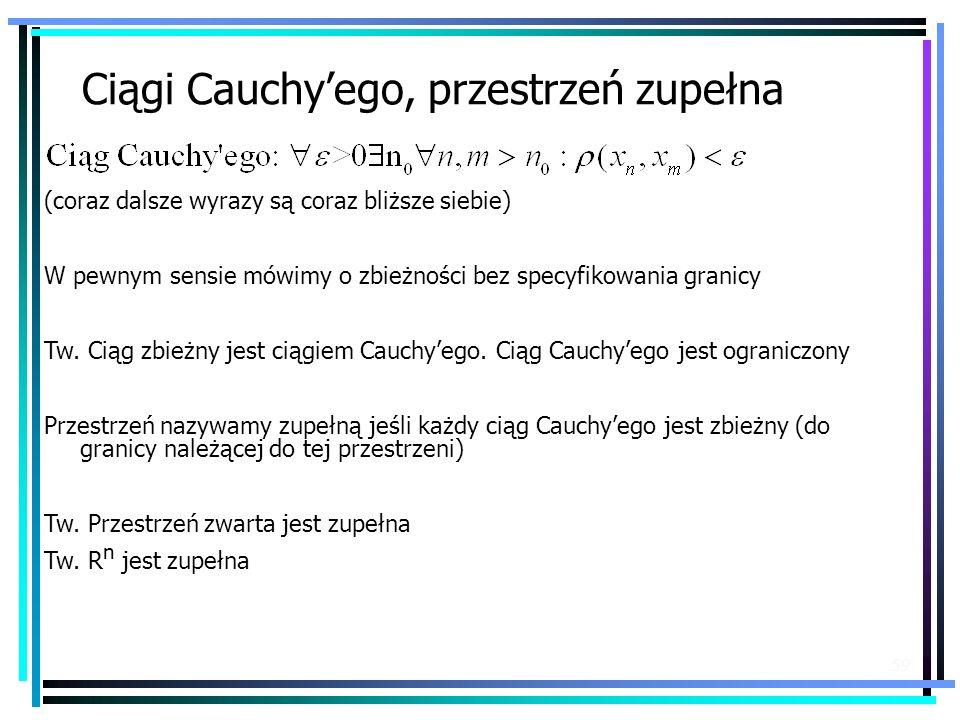 Ciągi Cauchy'ego, przestrzeń zupełna