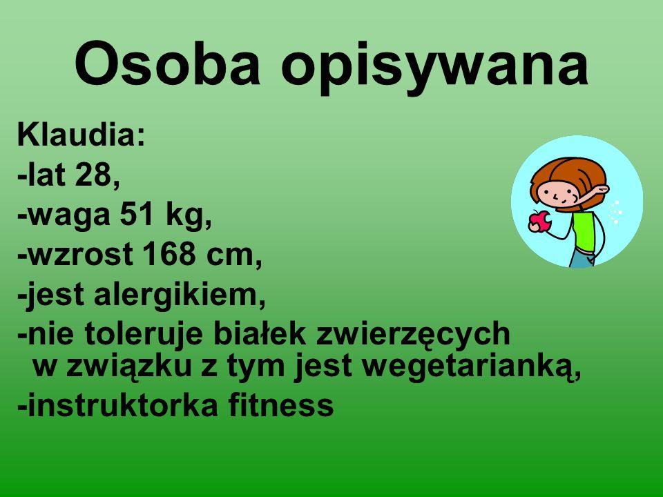 Osoba opisywana Klaudia: -lat 28, -waga 51 kg, -wzrost 168 cm,