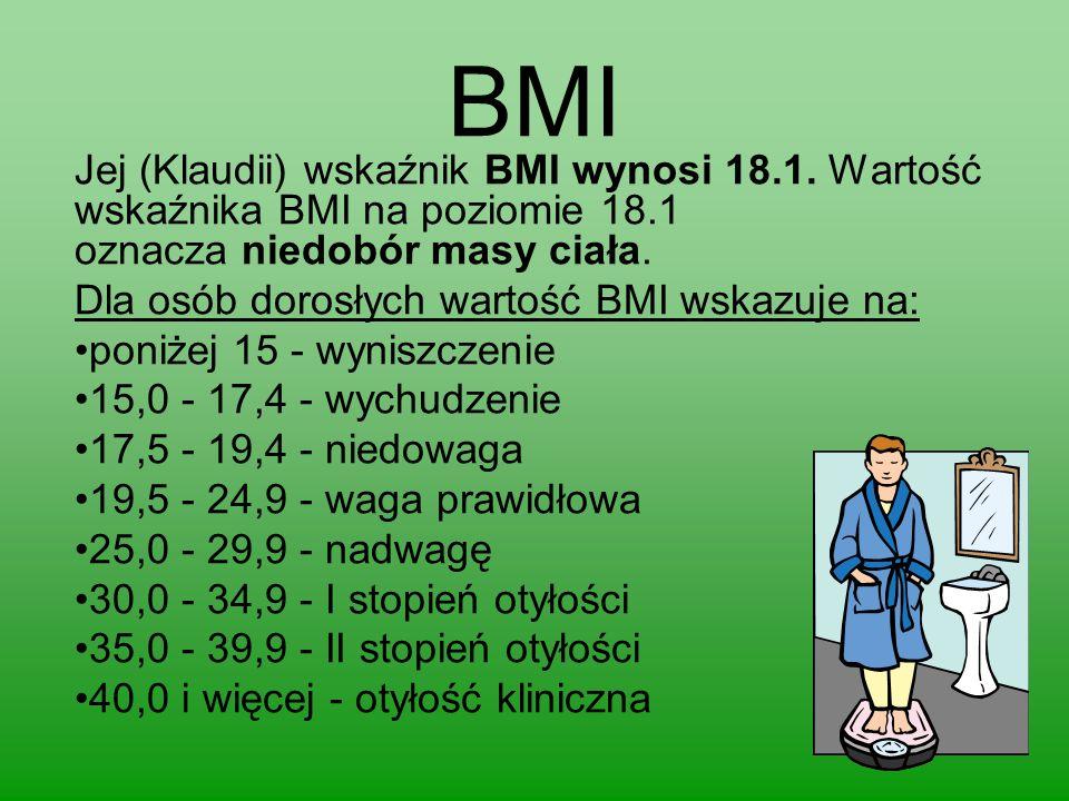 BMI Jej (Klaudii) wskaźnik BMI wynosi 18.1. Wartość wskaźnika BMI na poziomie 18.1 oznacza niedobór masy ciała.