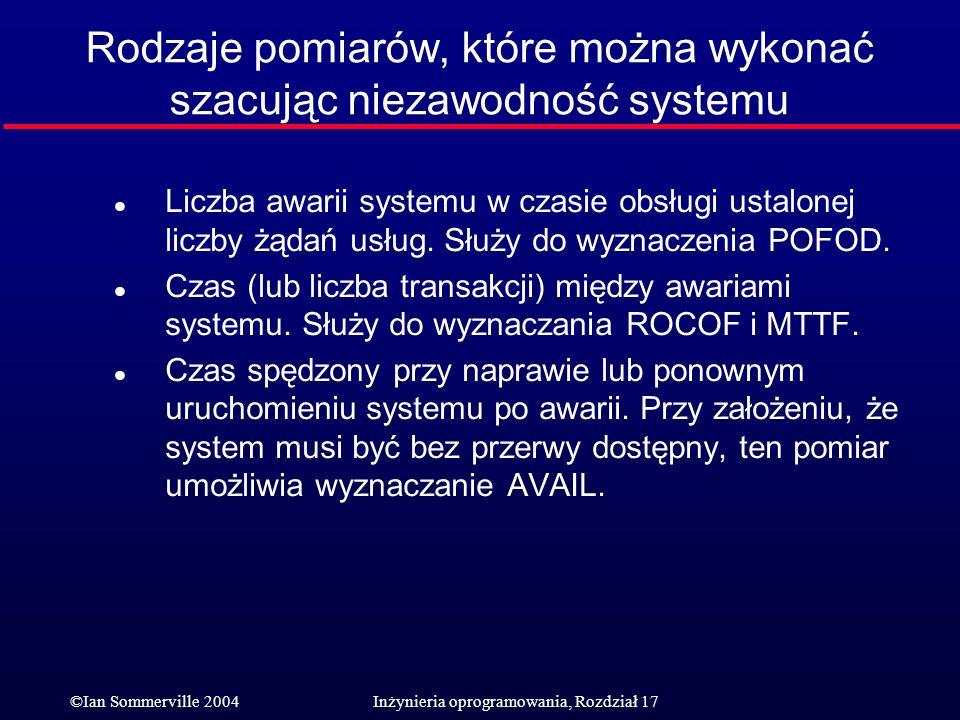 Rodzaje pomiarów, które można wykonać szacując niezawodność systemu