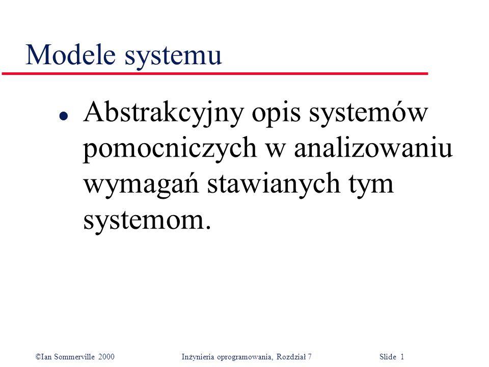 Modele systemu Abstrakcyjny opis systemów pomocniczych w analizowaniu wymagań stawianych tym systemom.