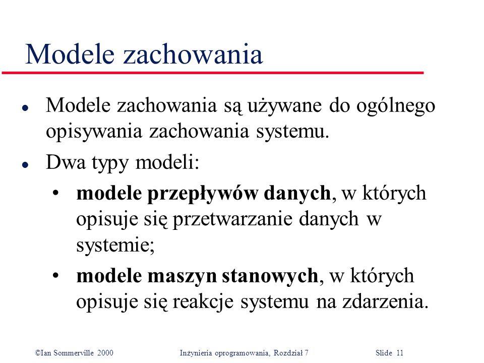 Modele zachowania Modele zachowania są używane do ogólnego opisywania zachowania systemu. Dwa typy modeli: