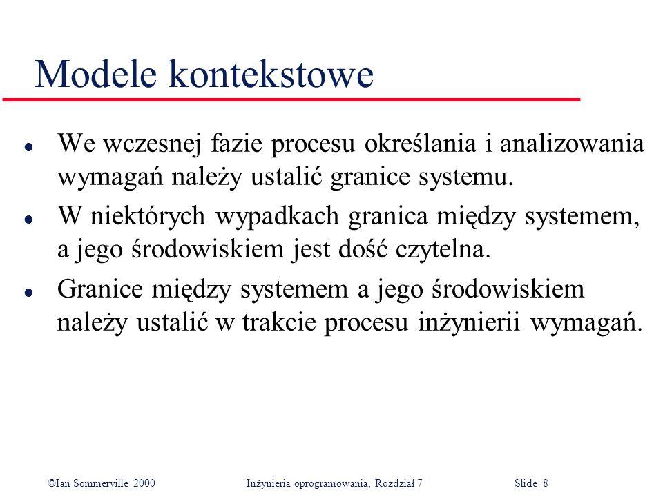 Modele kontekstowe We wczesnej fazie procesu określania i analizowania wymagań należy ustalić granice systemu.
