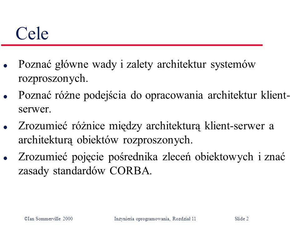 Cele Poznać główne wady i zalety architektur systemów rozproszonych.