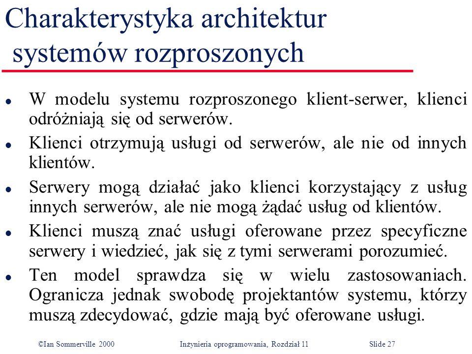 Charakterystyka architektur systemów rozproszonych