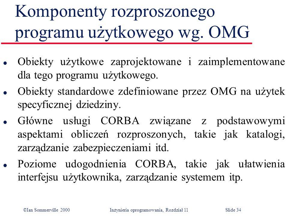 Komponenty rozproszonego programu użytkowego wg. OMG