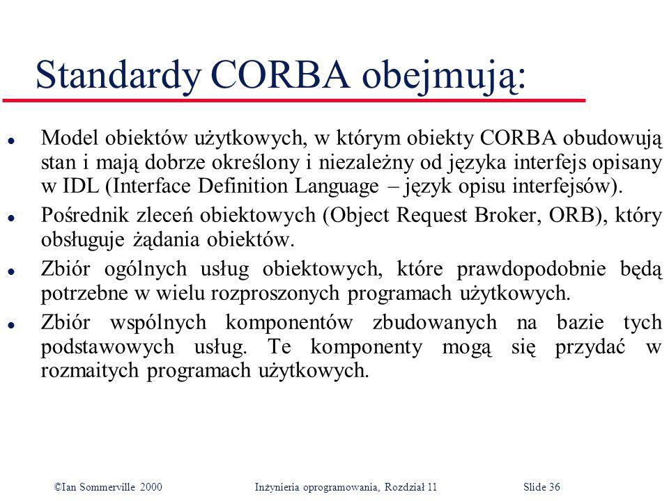 Standardy CORBA obejmują: