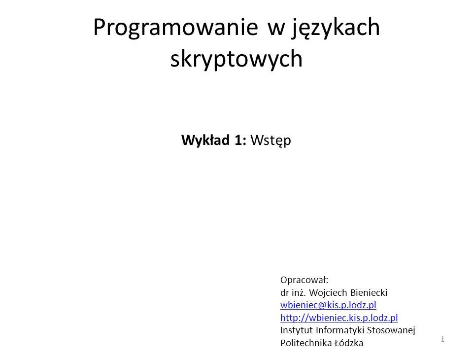 Programowanie w językach skryptowych