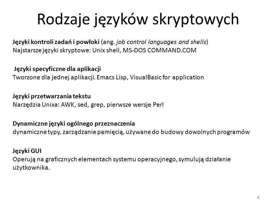 Rodzaje języków skryptowych
