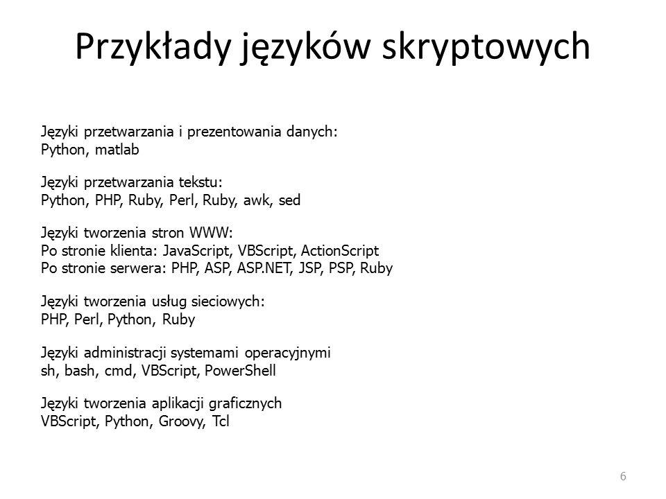 Przykłady języków skryptowych