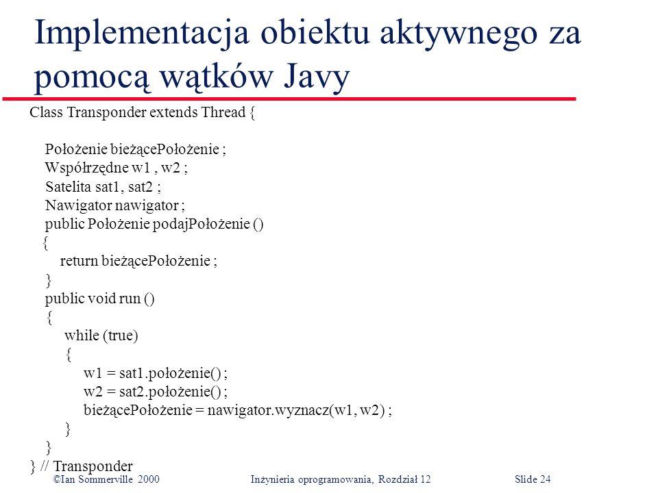 Implementacja obiektu aktywnego za pomocą wątków Javy