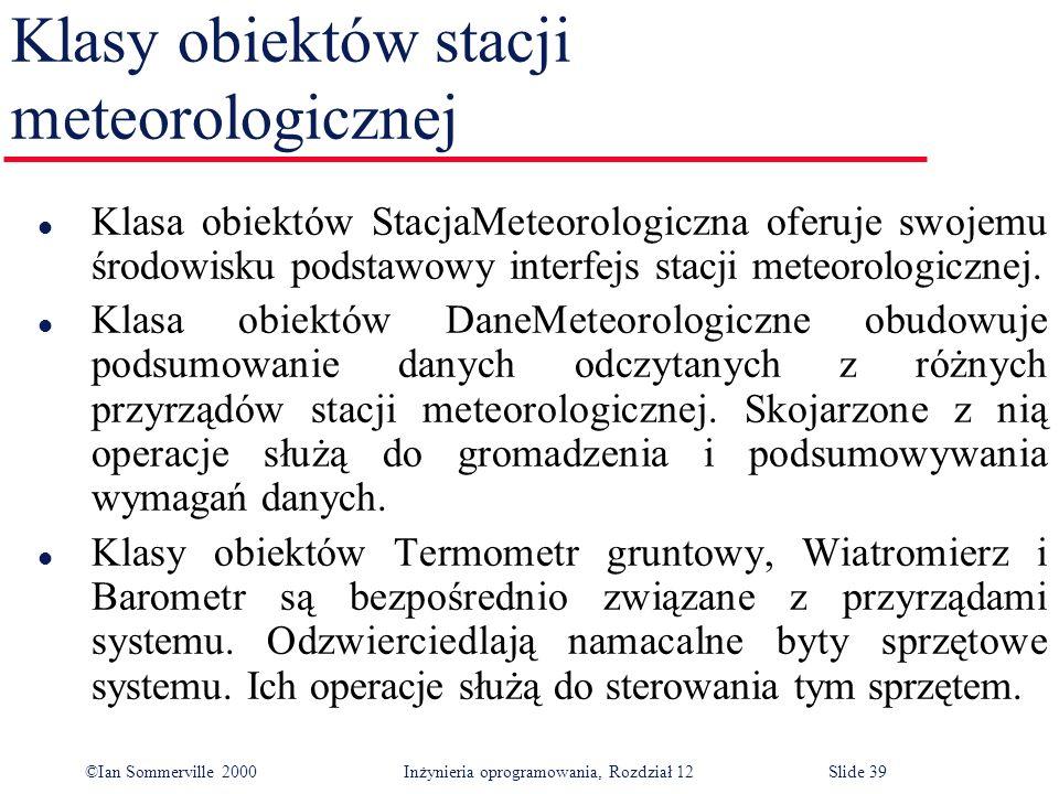 Klasy obiektów stacji meteorologicznej