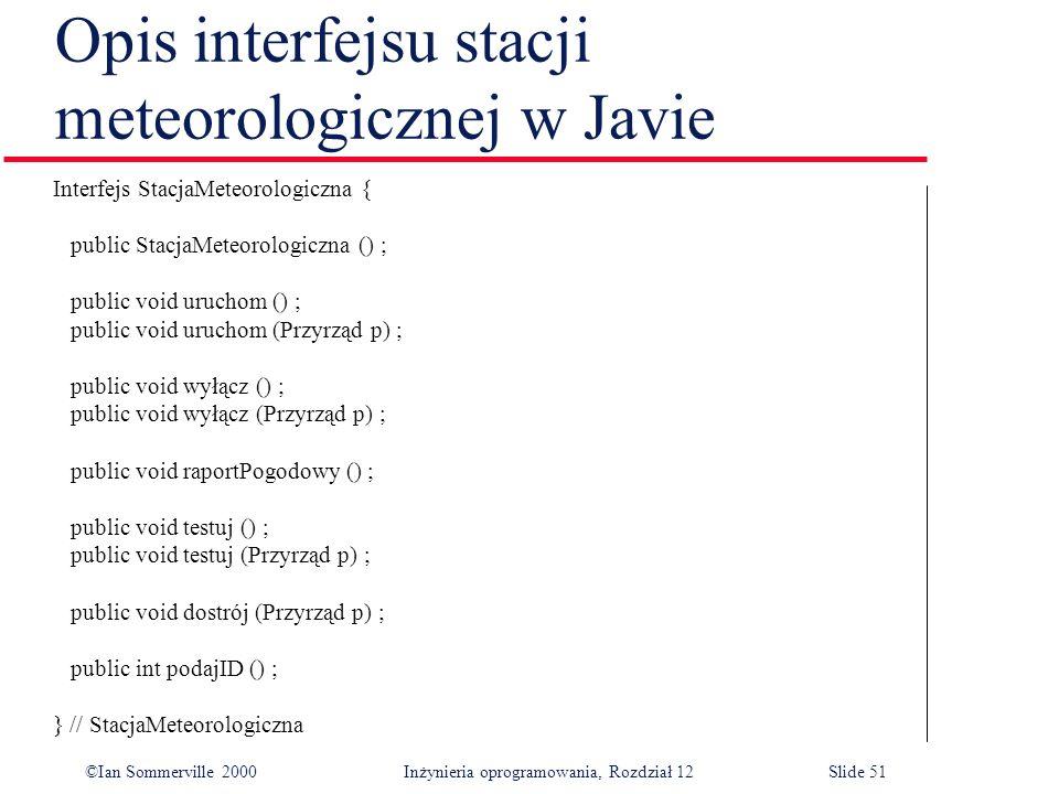 Opis interfejsu stacji meteorologicznej w Javie