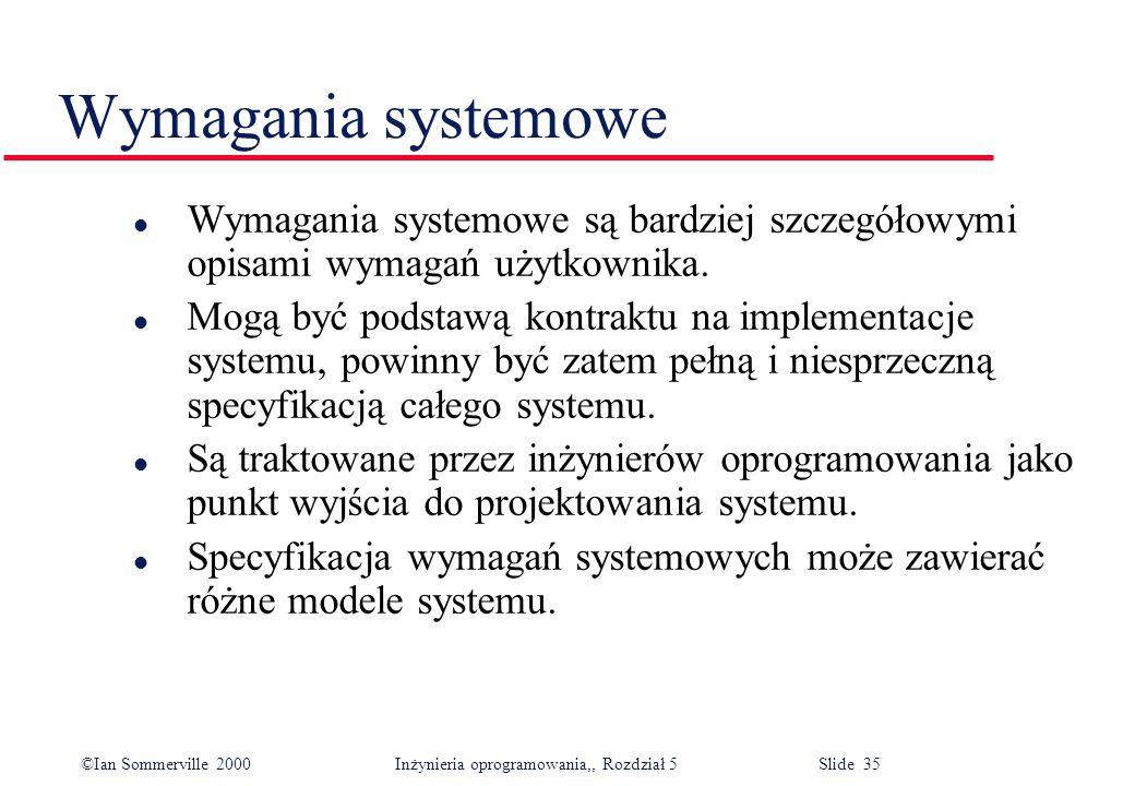 Wymagania systemowe Wymagania systemowe są bardziej szczegółowymi opisami wymagań użytkownika.