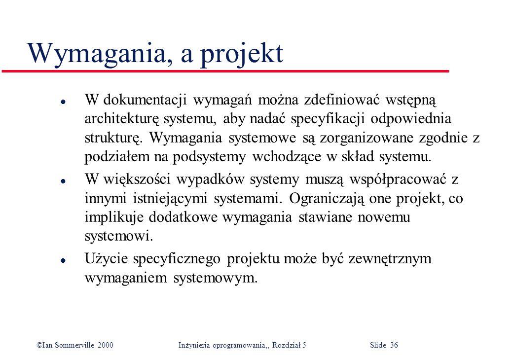 Wymagania, a projekt