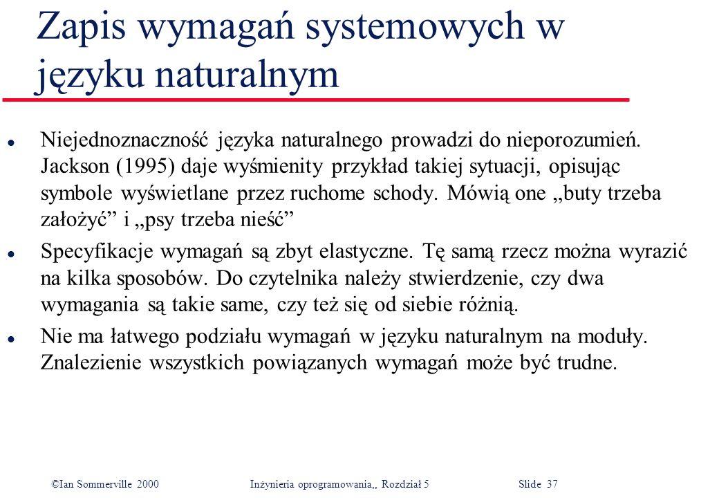 Zapis wymagań systemowych w języku naturalnym