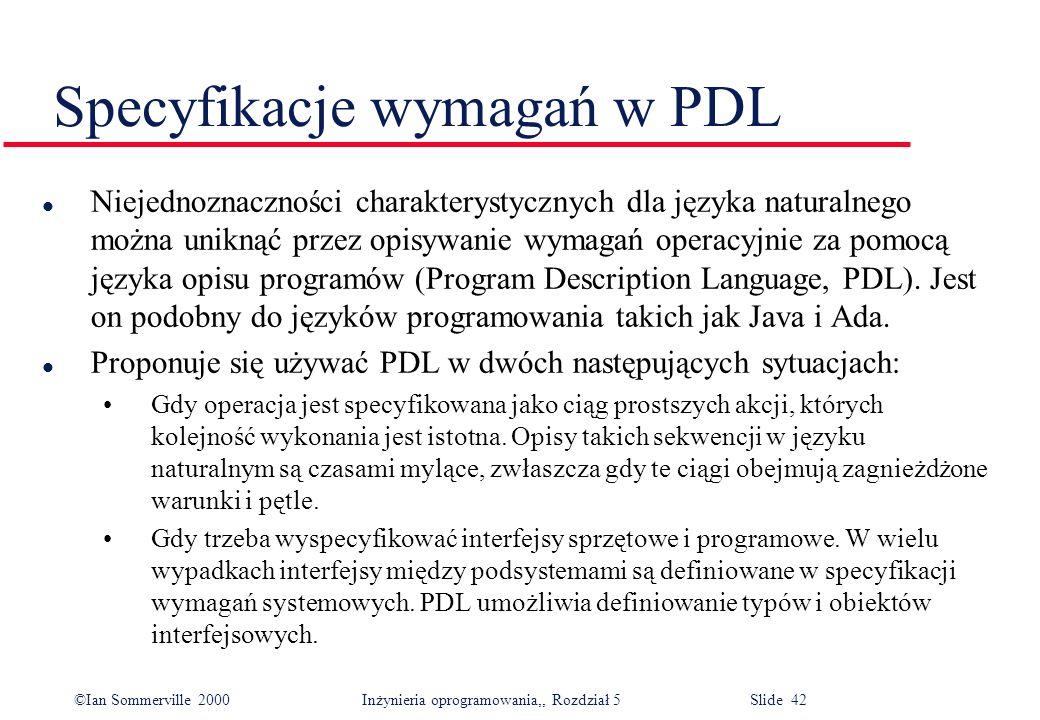 Specyfikacje wymagań w PDL