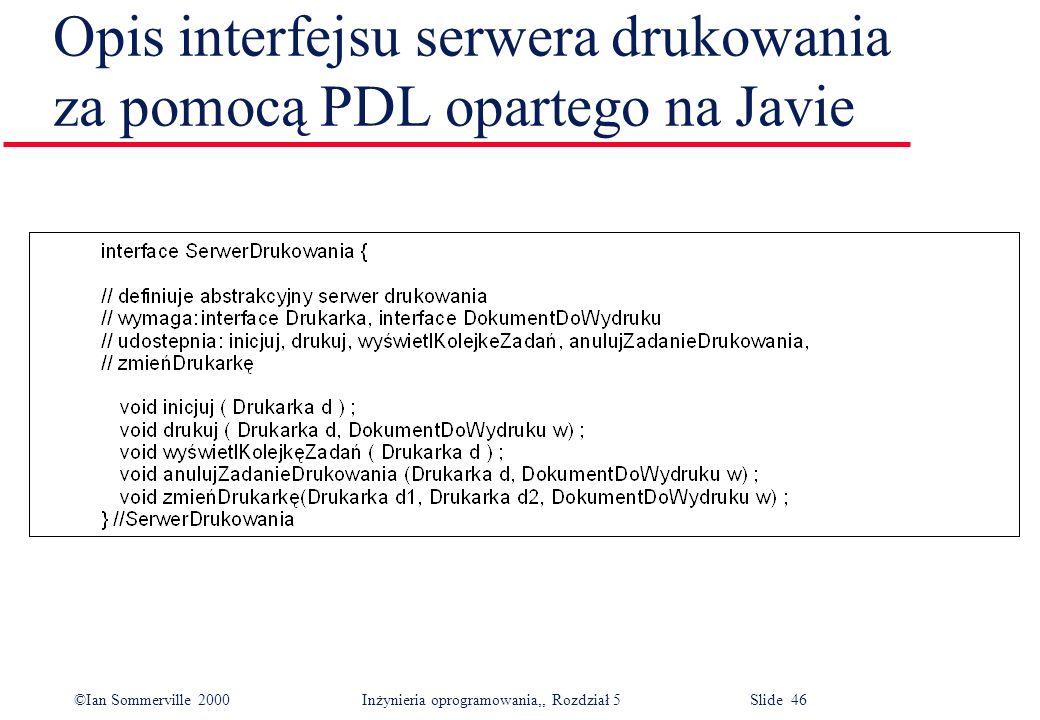Opis interfejsu serwera drukowania za pomocą PDL opartego na Javie