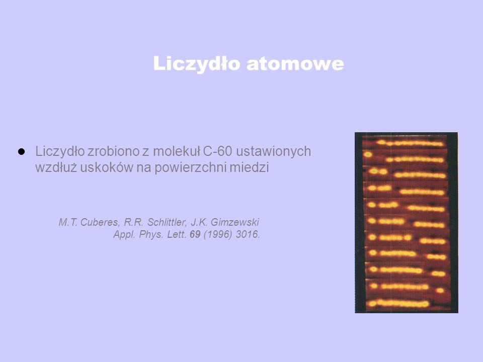 Liczydło atomowe Liczydło zrobiono z molekuł C-60 ustawionych wzdłuż uskoków na powierzchni miedzi.