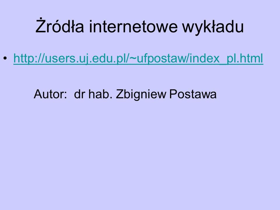 Żródła internetowe wykładu