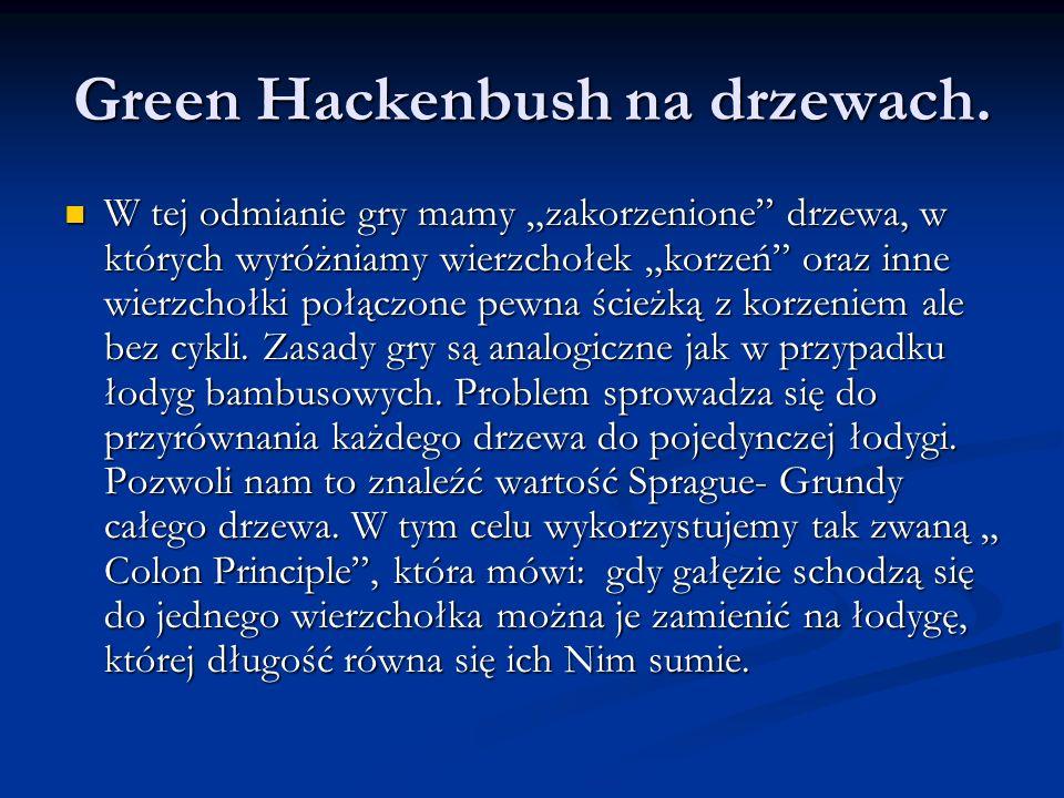 Green Hackenbush na drzewach.